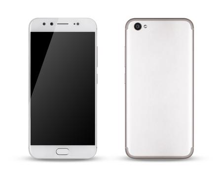 Smartphone, faces avant et arrière de l'écran tactile moderne du smartphone isolé sur fond blanc. Banque d'images