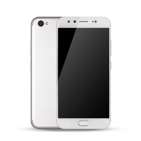 Smartphone, front and back sides of smartphone modern touch screen isolated on white background.