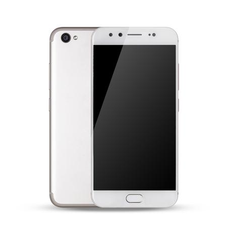 Smartphone, voor- en achterkant van smartphone moderne touchscreen geïsoleerd op een witte achtergrond.