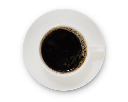 koffiekopje bovenaanzicht geïsoleerd op een witte achtergrond. met uitknippad. Stockfoto