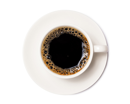 black coffee in a coffee cup top view  isolated on white background. with clipping path. Banque d'images