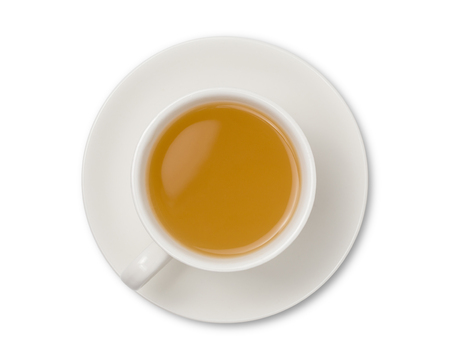 Cup of ginger tea isolated on white background top view. with clipping path. Stockfoto