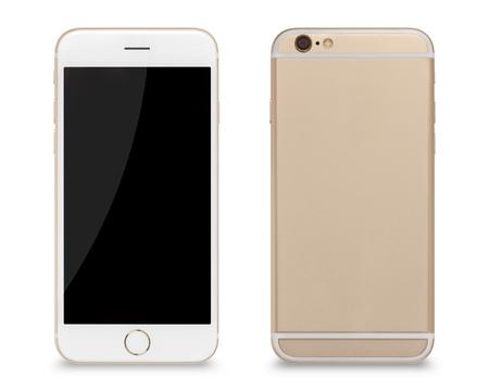 スマートフォン、前面と背面のスマートフォンのモダンなタッチスクリーンの側面は、白い背景に隔離されています。 写真素材