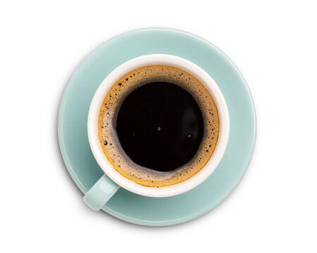 Draufsicht der Kaffeetasse lokalisiert auf weißem Hintergrund. mit Beschneidungspfad. Standard-Bild