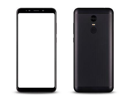 Vorder- und Rückseite des modernen Smartphone-Touchscreens isoliert auf weißem Hintergrund.