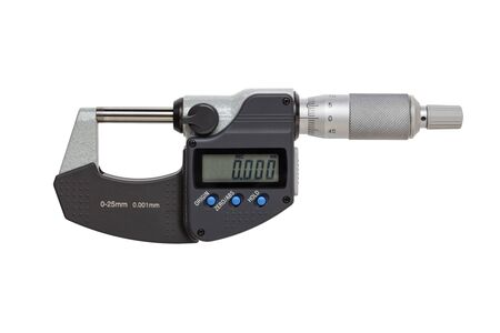 digital micrometer  0-25mm. isolated on white background.