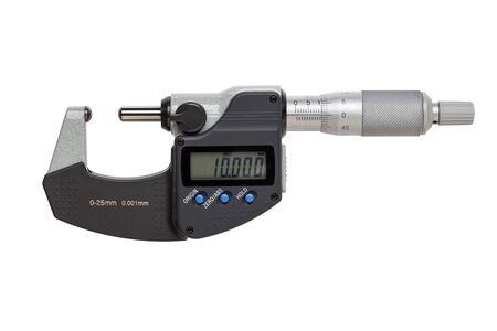Ball-Anvil digital micrometer  0-25mm. isolated on white background.