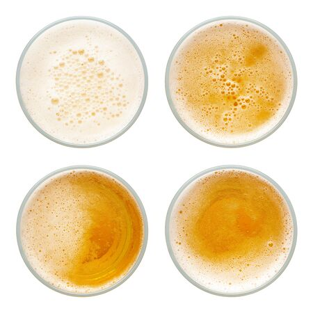 beer bubbles in glass cup on white background. top view collection isolated on white background. 版權商用圖片