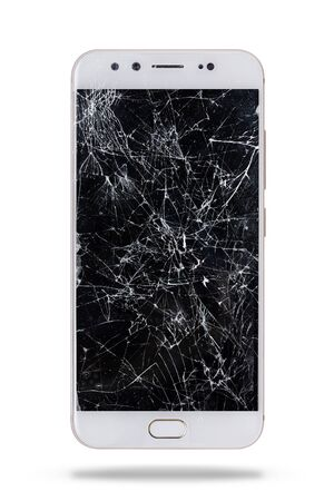 modern touch screen smartphone with broken screen isolated on white background. Banco de Imagens