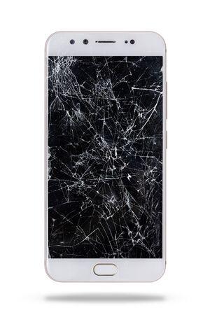 moderno smartphone touch screen con schermo rotto isolato su sfondo bianco. Archivio Fotografico