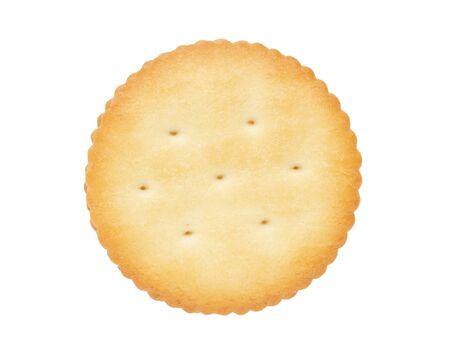 Galletas de galletas secas aisladas sobre fondo blanco, vista superior Foto de archivo