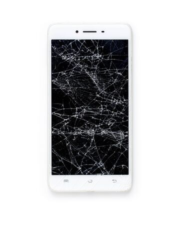 Mobile modern touch screen smartphone with broken screen on white background.