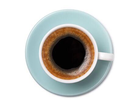 Vista superior de la taza de café aislada sobre fondo blanco. Foto de archivo