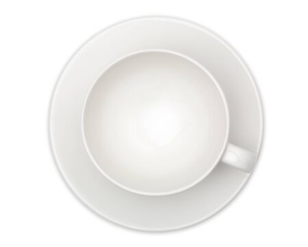 empty white coffee cup or tea cup top view on white background. with clipping path.