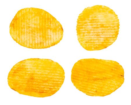 Potato chips assortment top view collection isolated on white background.
