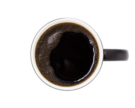 coffee , top view of coffee black in black ceramic  isolated on  background. with  . Banque d'images