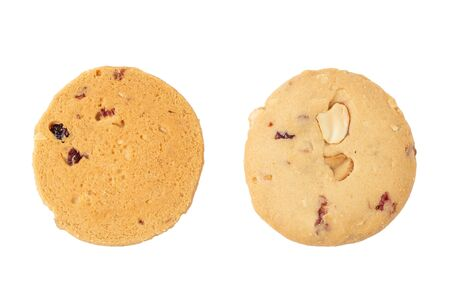 chocolate chips cookies isolated on white background. Stock Photo
