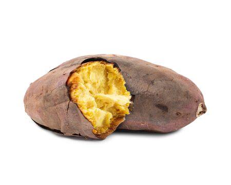 Sweet potato burned isolated on white background