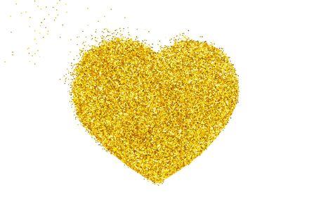 Gold heart. granular dot mosaic. Heart from gold glitter.
