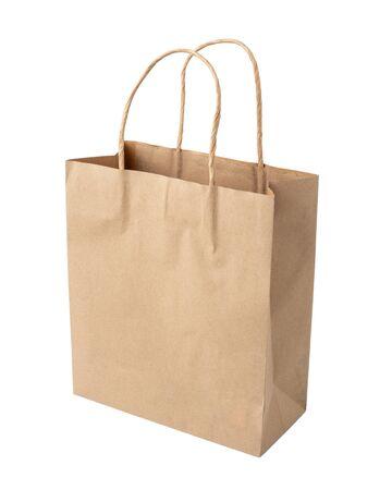 Bolsa de compras marrón con asas aislado sobre fondo blanco. Foto de archivo