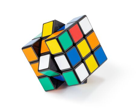 Thailand, 3 December 2019. rubik's cube colorful isolated on the white background. Sajtókép