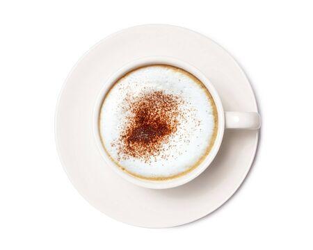 Café capuchino, café vista superior aislado sobre fondo blanco.