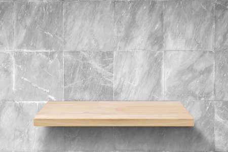 Empty wood shelf on white marble background, Light wooden table top or shelf on white marble background.