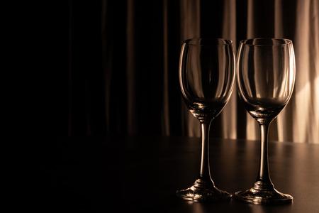 Two empty wine glasses. Banco de Imagens