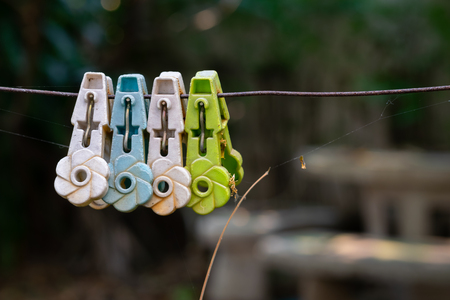 The variety of clothespins clip on the wire.