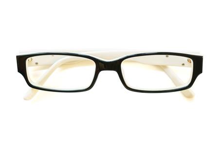Photo of Black frame eye glasses on white background
