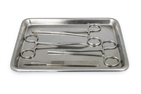 Surgical instruments on stainless tray.
