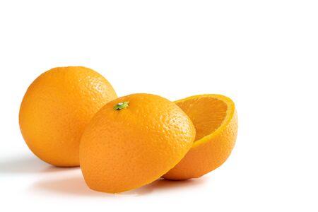 Half cut Navel orange isolated on white background 免版税图像