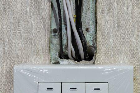 New electric wires while renovating Фото со стока