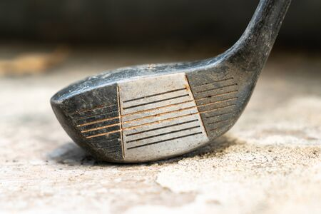 close-up photo of old golf club wood head