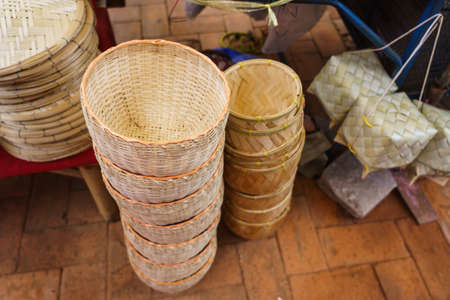 Various types of wickerwork at the wicker shop