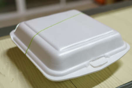The food box made of foam, strapped with rubber band.