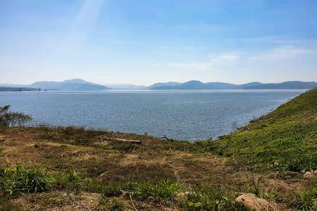 Landscape photo of reservoir water that begins to decline in the dry season. Reklamní fotografie