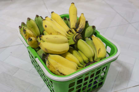 Hand of bananas with twin bananas in a green plastic basket.