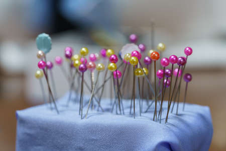 Several colored pins are pinned on the pincushion.