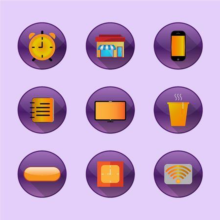 bottons: Flat icons home freelance