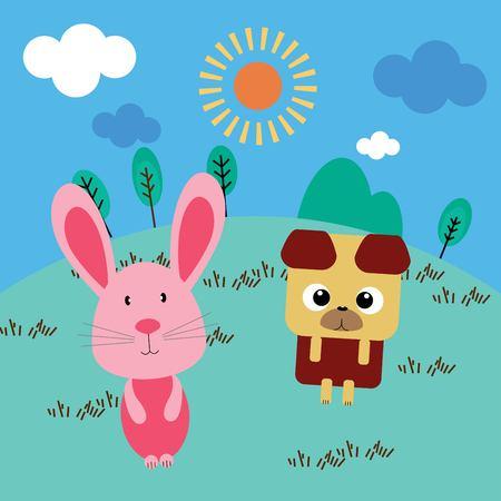 catoon: Catoon rabbit and dog