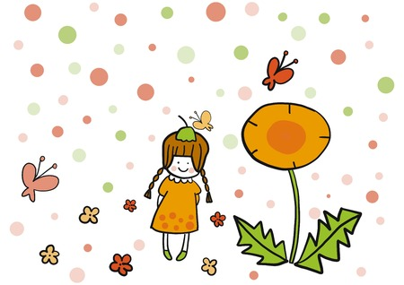 cute girl: Cute girl cartoon Illustration