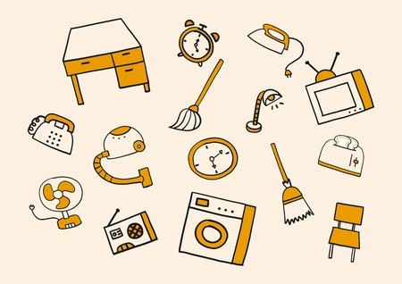 household: Household doodle Illustration