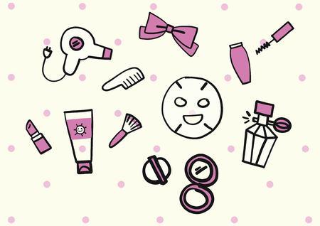 hair mask: Make-up doodle Illustration