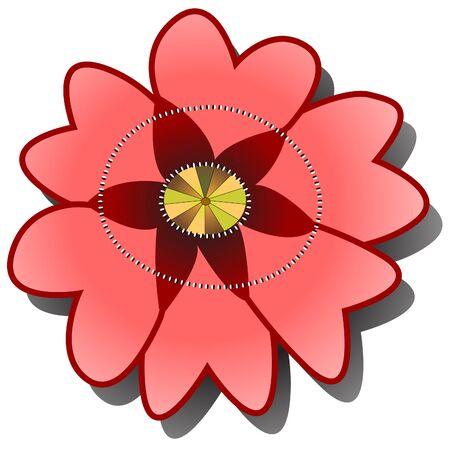 eglantine: Illustration of single red poppy or briar on the white background