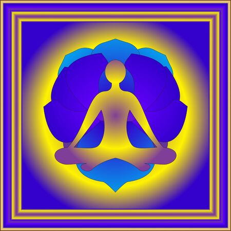 yogi: Tranquil picture of yogi in sukhasana and blue lotos on background Stock Photo