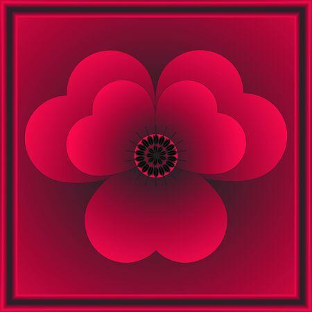 simbol: Red flower as simbol of passion in black frame