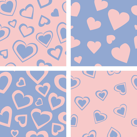 abstrakt: Set of four colored hearts - seamless pattern on isolated background