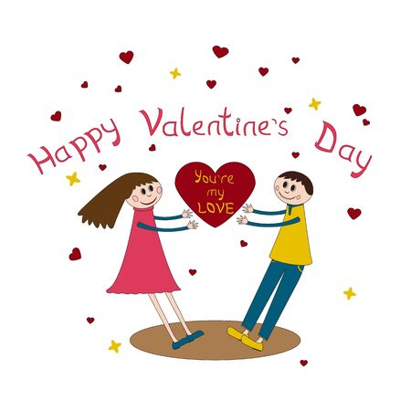 heterosexual: Cute valentines card with enamored couple on and big heard