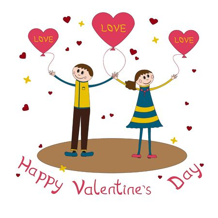 happy couple: Greeting card for Valentines Day with happy couple and congratulations on